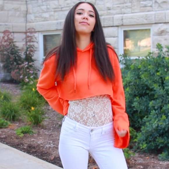 a92705960cee0a Forever 21 Bright Orange Cropped Hoodie